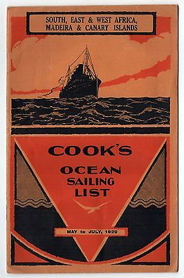 1929 COOK'S OCEAN SAILING LIST Madeira PORTUGAL Canary Islands AFRICA Cook