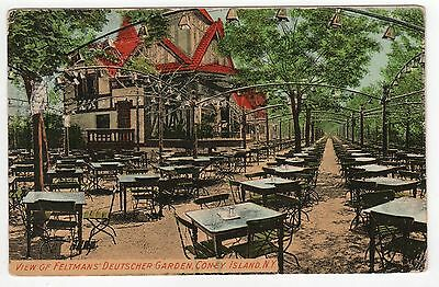 CONEY ISLAND PC Postcard NEW YORK CITY NYC NY Amusement Park DEUTSCHER GARDEN