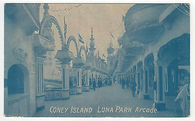 CONEY ISLAND PC Postcard NEW YORK CITY Amusement Park LUNA PARK ARCADE 1910