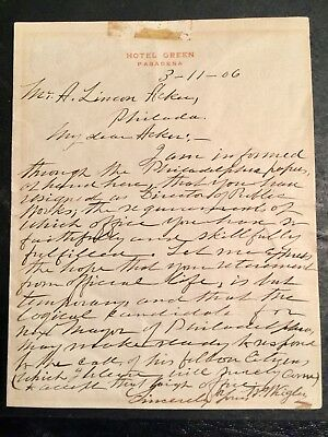 1906 Hand Written Letter  W. Wrigley To A. Lincoln Acker Hotel Green Pasadena