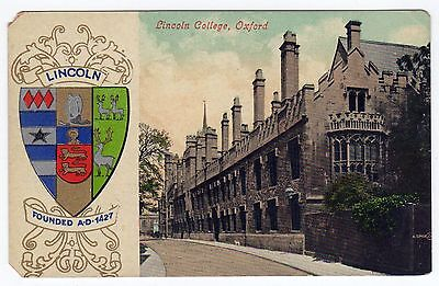 LINCOLN COLLEGE Oxford University ENGLAND PC Postcard UNITED KINGDOM Seal ARMS