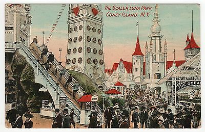 CONEY ISLAND PC Postcard NEW YORK CITY Amusement Park LUNA PARK Scaler Ride
