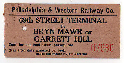 1940s PHILADELPHIA AND WESTERN RAILWAY Trolley Pass TICKET Train BRYN MAWR 69th