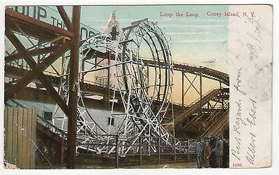 CONEY ISLAND PC Postcard NEW YORK CITY NYC NY Amusement Park LOOP THE LOOP Ride
