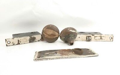 Antique Vintage MORTISE METAL DOOR KNOB & 2 LOCKS & One BACK PLATE