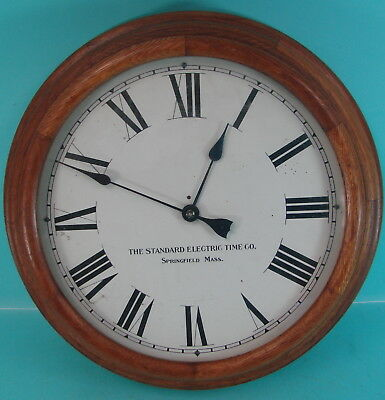 Early VTG Standard Electric Time Company Oak Wooden Roman Numeral Time Clock