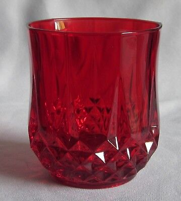 Double Old Fashioned Glass Tumbler Cristal D'Arques Crystal Longchamp Ruby Red