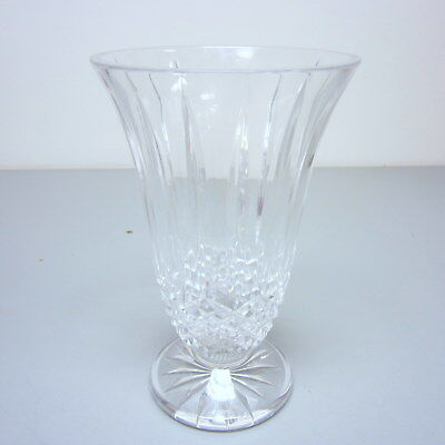 "Vintage 1970s Signed Waterford Crystal 10"" Footed Cut Flared Vase"
