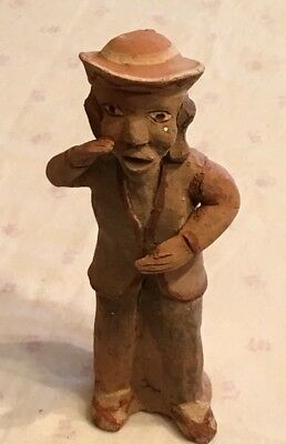 Peruvian Clay Whistle Antique Statue Figure Peru Figurine Flute Pottery