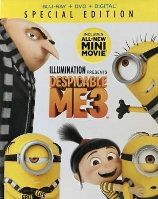 DESPICABLE ME 3 SPECIAL EDITION NEW BLU-RAY +DVD +DIGITAL BONUS FEATURES + Slip