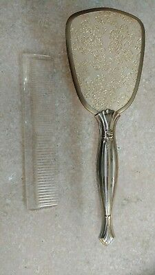 Vintage floral embroidered 2 hairbrush, comb and mirror dressing table set