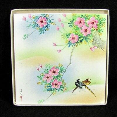 Vintage JAPANESE CHERRY BLOSSOM Bird Tile Hand Painted Artist Signed Painting