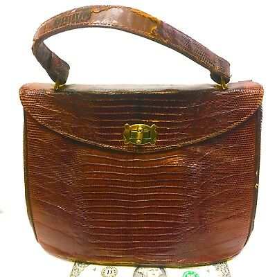 Elegant Vintage Real Alligator Small Ladies Purse with Strap & Toggle Latch LQQK