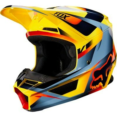 Fox Racing V1 Motif Mens MX Offroad Helmet Yellow