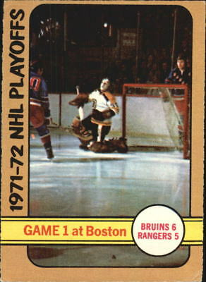 1972-73 O-Pee-Chee #7 Playoff Game 1/Bruins 6/Rangers 5 - VG