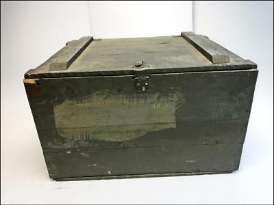 Vintage WOOD STORAGE CHEST green US ARMY CORPS military wooden crate trunk box