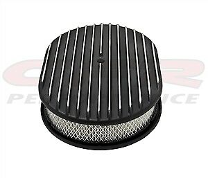 """Chevy Ford Mopar Al 12/"""" Oval Air Cleaner Paper Filter Polished Partial Finned"""