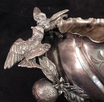 Antique c1880 MERIDEN Silverplate Bowl~Birds & Orange Branch~AESTHETIC Movement