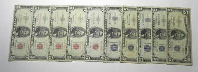 10 Circulated $5 Red Blue Seal Five Dollar Notes: 1934 1953 1963, one star