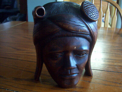 Unknown Ethnic Wood Head Asian ? Islands Not African Bali ? Stands On It's Own