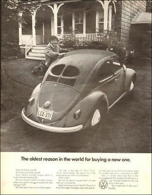 1960s vintage AD for Volkswagen Beatle, early model shown 092218