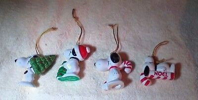 4 Vintage Peanuts Snoopy Ceramic Ornaments Holding Christmas Trees & Candy Canes