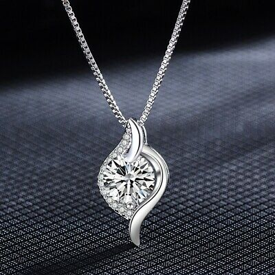 925 Sterling Silver Crystal Stone Pendant Chain Necklace Womens Girls Jewellery