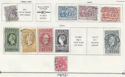 9 Netherlands Stamps from Quality Old Antique Album 1899-1921