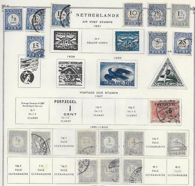 22 Netherlands Air & Post Due Stamps from Quality Old Antique Album 1881-1938