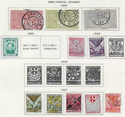 11 Netherlands Semi-Postal Stamps from Quality Old Antique Album 1906-1927