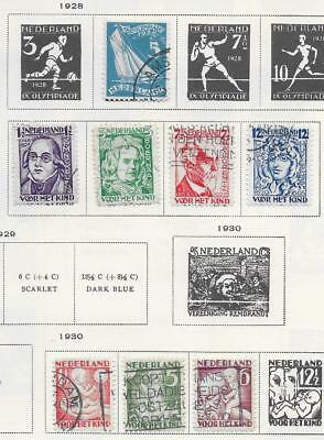 12 Netherlands Semi-Postal Stamps from Quality Old Antique Album 1928-1935