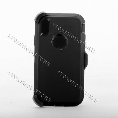 iPhone XR Shockproof Hard Case w/Holster Belt Clip Fits Otterbox Defender Black