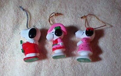 3 Vintage Peanuts Snoopy Ceramic Ornament Girl Pink Cowboy Hat Hair Bow In Dress