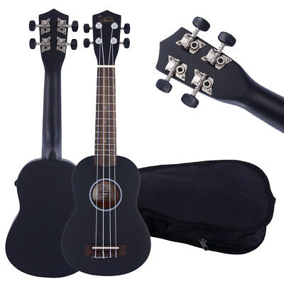 "Black 21"" Soprano Ukulele Glarry Acoustic Mini Guitar Music Instrument + Bag"