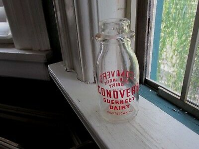 Vintage Conover's Guernsey Dairy Half Pint Glass Pyro Milk Bottle,Hightstown, NJ