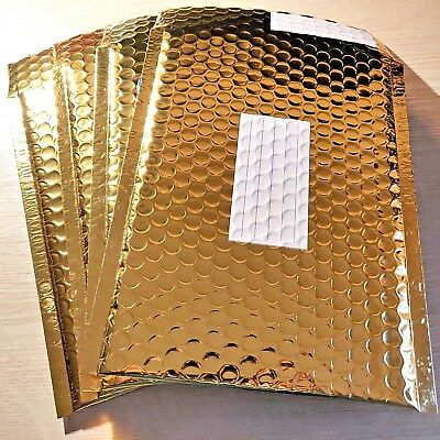 4x NEW - SIZE D / 1 - METALLIC GOLD PADDED BUBBLE BAGS Mail Postal Envelopes Bag