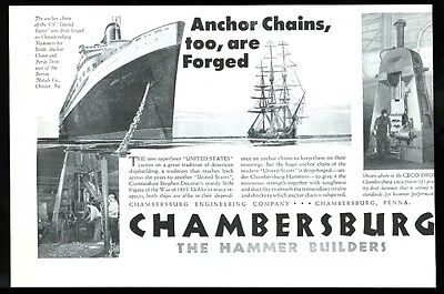 1952 SS United States ship anchor chain pic Chambersburg vintage print ad