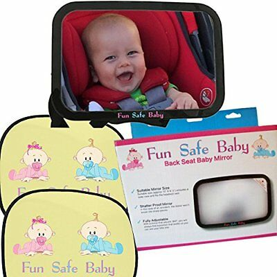 Fun Safe Baby Safety and Comfort Pack, Backseat Mirror for Rear Facing Car Seat