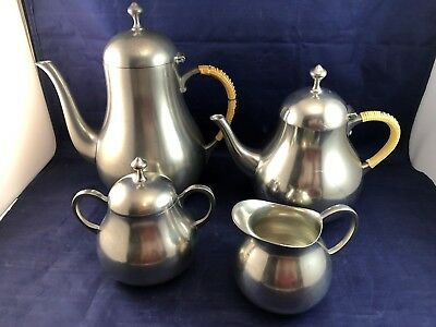 Vintage Royal Holland Pewter KMD Tiel Tea / Coffee / Sugar / Creamer Set