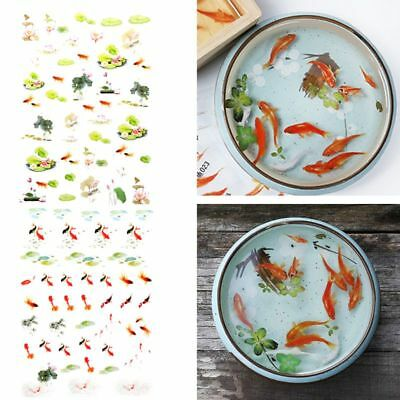 3D Goldfish Lotus Clear Film Resin Stickers Water-Like Painting Jewelry Making