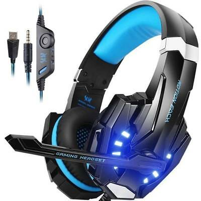 2439dc22316 Gaming Headset for PlayStation PS4 Tablet PC 3.5mm Headphone Mic Laptop  Blue LED