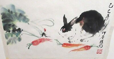 Rabbit & Carrots Original Watercolor On Paper Painting Signed