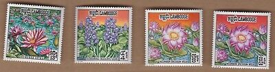 1970 Cambodia Flowers, SG 270/2, MUH, Set With Variety on 3R