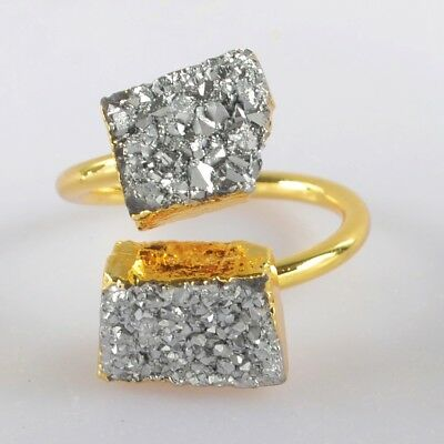 Size 6.5 Natural Agate Titanium Druzy Adjustable Ring Gold Plated H125967