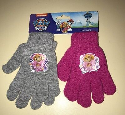 BNWT Girls Pink & Grey Paw Patrol Gloves 2 Pair Pack