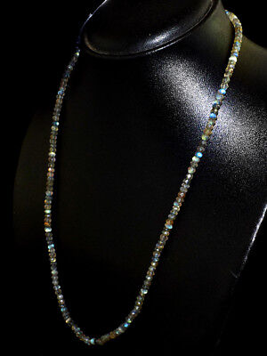 15MK3 130.00 Cts Natural Blue Flash Labradorite Round Faceted Beads Necklace NK