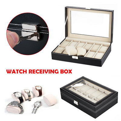 Men 12 Grids Leather Watch Display Case Jewelry Collection Storage Holder Box UK