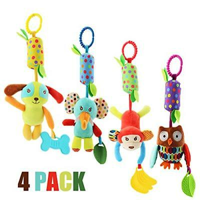 Baby Rattle Toys, Soft Hanging Rattle, Crinkle Squeaky Toy, Infant Stroller Car