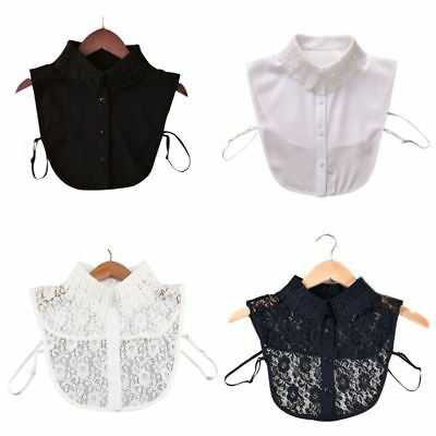Fashion Women Solid Shirt Cotton Lace False Collars Blouse Vintage Detachable