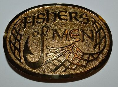 WOW Vintage Crumrine Fishers of Men Bible JESUS Religious MINTY Belt Buckle Rare